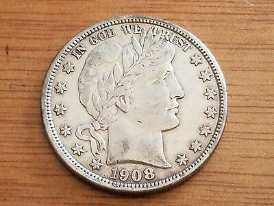 1908 D Denver 50 C Silver Barber Half Dollar LIBERTY Circulated