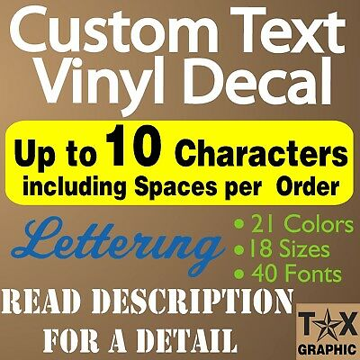 CUSTOM Decal Vinyl Lettering Personalized Sticker Window, Up to 10 Characters