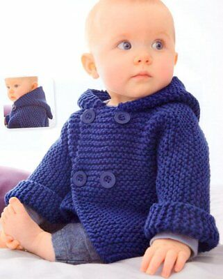 Easy Beginner Garter Stitch Hooded Jacket 3- 12 mths Baby Aran Knitting Pattern