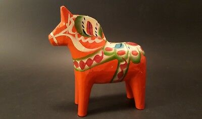 Swedish Dala Horse Hand Carved Wood Folk Art Figurine NILS OLSSON 4""