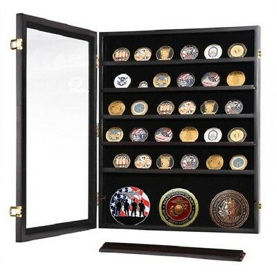 Military Shadow Box Coin Display Cabinet Rack Wood Challenge Holder Case Stand