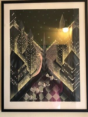 """Robert Hoope !988) original signed Lithograph 'Lady in the pick dress"""""""