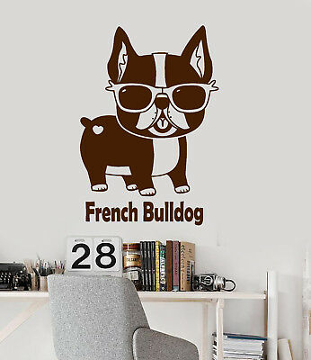 Vinyl Wall Decal French Bulldog Pet Shop Sunglasses Funny Animal Stickers 2558ig