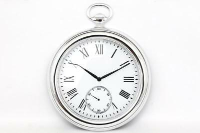 Vintage Retro Silver Antique Pocket Fob Watch Chrome Effect Wall Clock 39 cm