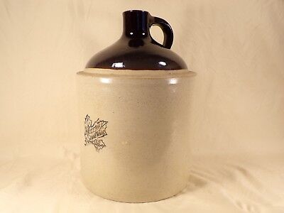 Antique Western Stoneware Moonshine Whiskey Jug with Blue Maple Leaf Primitive