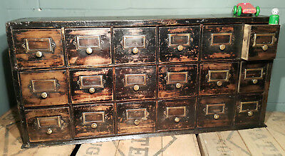 Stunning Antique Painted Pine Apothecary Drawers in Original Paint.