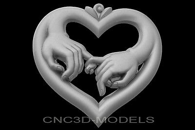 3D Model STL for CNC Router Engraver Carving Artcam Aspire Love Heart Hands g659