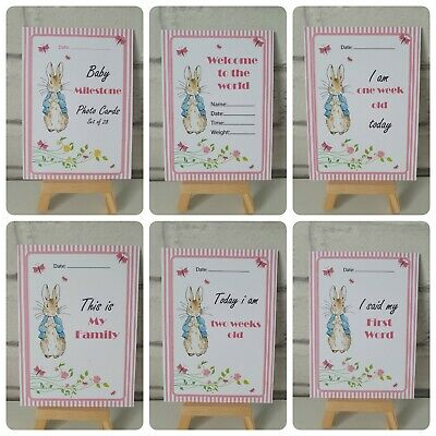 28 Rabbit Baby Milestone Pink Photo Cards - 1st Year Memorable Shower Girls Gift