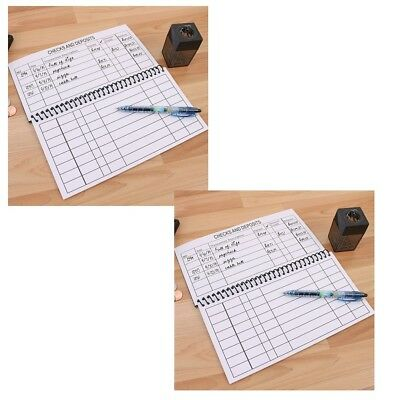 NEW (Set/2) Large Print Spiral Bound Check Registers Oversized For Easy Reading