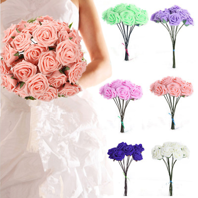 1-200 Artificial Foam Roses Flowers Wedding Bride Bouquet Flowers Home Decor UK