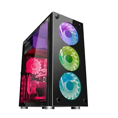 Gaming Computer PC Case Liquid Cooling Desktop Micro ATX Mid Tower USB Black