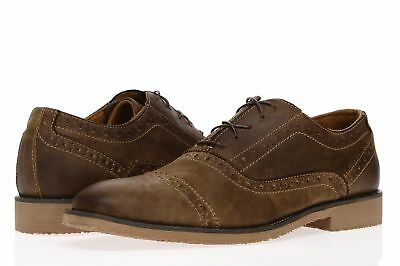 b27a992170f STEVE MADDEN Men's 'P-Septor' Brown Leather Lace Up Oxford Shoes Sz 8