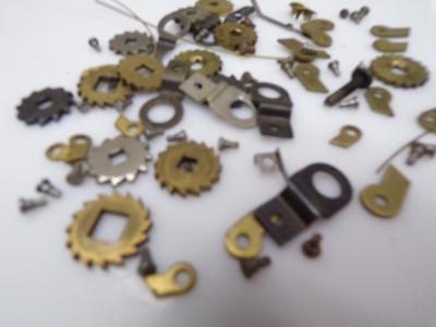 Lot of  Clock Maker Replacement Grandfather / Clock Brass Clicks & Wheels D737a