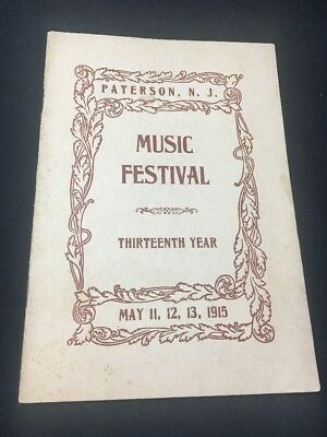 RARE Vintage Antique 1915 Paterson NJ Music Festival Program 5th Regiment Armory