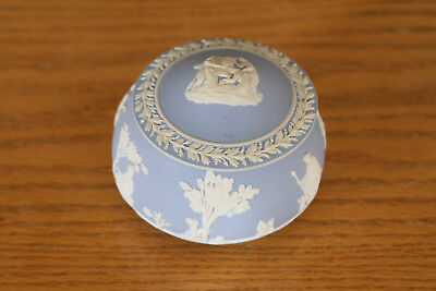 Very Rare Unusual Antique Wedgwood Light Blue Jasper Ware Covered Box (c.1920)