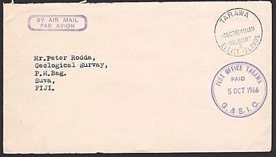 GILBERT & ELLICE IS 1966 Small cover to Fiji : POST OFFICE TARAWA paid cds..6978
