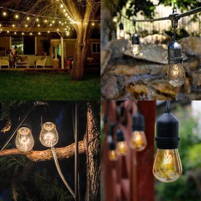 25-100 Foot Globe Patio String Lights ST64 S14 Clear Bulbs Outdoor US