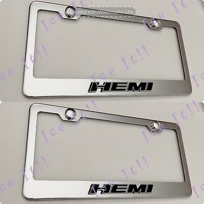2X 3D Accord Raised Emblem Black Stainless Steel License Plate Frame Rust Free