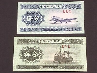 2 X 1953 Chinese Bank Notes. 2 & 5 Fen Notes. Uncirculated.