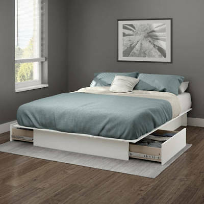 White Queen Or Full Size Platform Bed Frame With Storage Drawers No