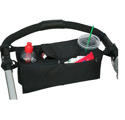 BB02- Baby Stroller safe console tray pram hanging black bag/bottle cup holder