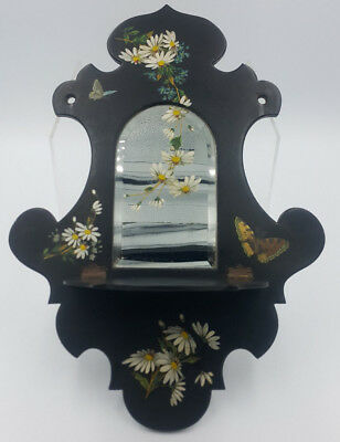 Vintage Hand Painted Small Wall Mirror With Folding Shelf. Folk Art - Narrowboat