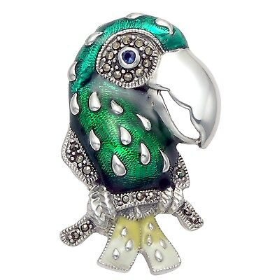 Wild Things Sterling Silver Marcasite 2 Seahorse Pin with Blue and Green Enamel and Crystal Eyes