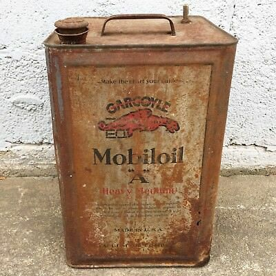 "Vintage Gargoyle Mobiloil ""A"" Heavy Medium 5 Gallon Oil Can"