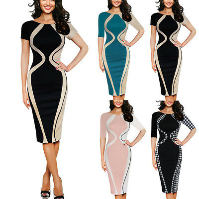 Sexy Womens Sexy Bodycon Short Sleeve Evening Cocktail Party Pencil Midi Dress