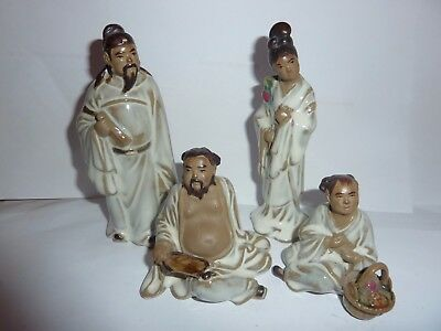 Vintage Shiwan Mud Man Chinese Standing Man &woman With Sitting Down Girl &male