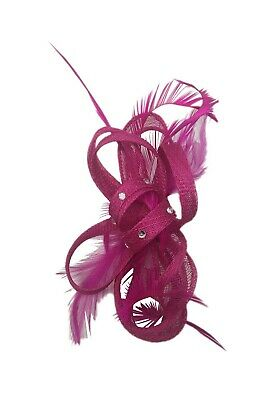 Ladies Wedding Royal Ascot Races Fuschia Fascinator Hats with Headband Clip UK