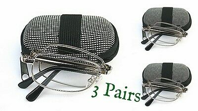 3 x PAIRS SILVER Folding Reading Glasses Case,Cloth with 7 Lens Variations Z006