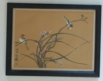 Vintage Chinese Silk Painting Birds Blossoming  Branches Artist Signed