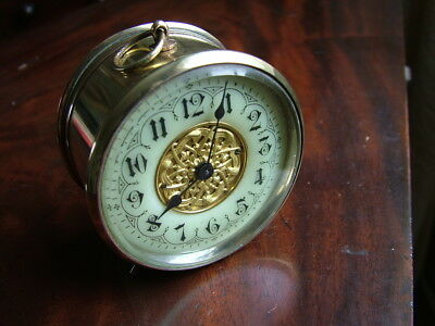FINE C19th FRENCH PLATFORM ESCAPEMENT TRAVELLING CLOCK ENAMEL & FILIGREE DIAL AF