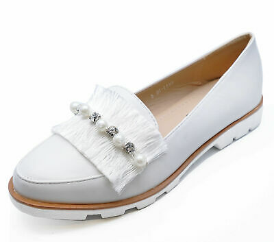Ladies White Slip-On Satin Loafers Smart Casual Flat Comfy Pumps Shoes Sizes 3-8