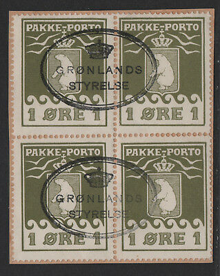 $Greenland Sc#Q1 used, Parcel Post block of 4 on piece, Styrelse cancels
