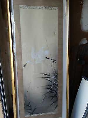 """antique Japanese hand painted scroll crane 82""""x21"""" Qing signed seal UNFRAMED"""