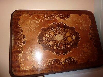 Vintage 67 By 47Cm Rectangular Marquetry 2 Tone Table Top With Flower/leaf Decor