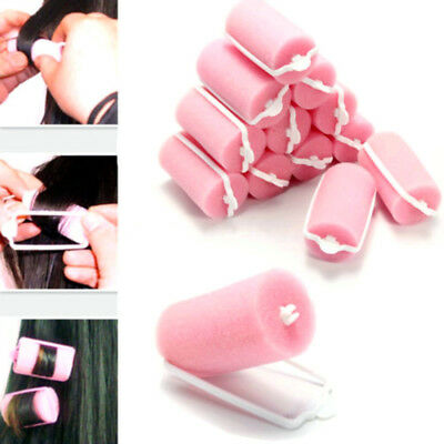 12 Pcs Magic Sponge Foam Cushion Hair Styling Rollers Curlers Twist Tools Pink