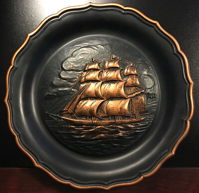VINTAGE Coppercraft Guild Black & Gold Plate Wall Hanging