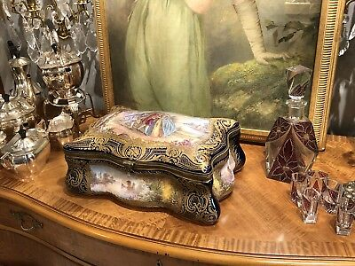 """18th Century French Sevres Cobalt Blue Huge Museum Vanity Jewelry Box 15"""" Wide"""