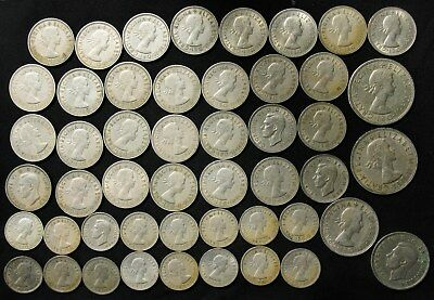 Lot of 49 Great Britain 6 Pence, Shilling, 2 Shilling, 1/2 Crown 1949-1967