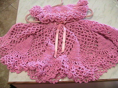 GORGEOUS rose & pearl fleck FRILLY BABY DRESS Size 3-6 months~rose buttons