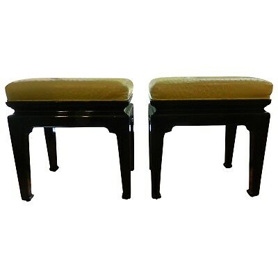 Vintage Chinese Style Lacquered Stools with Genuine Ostrich skin
