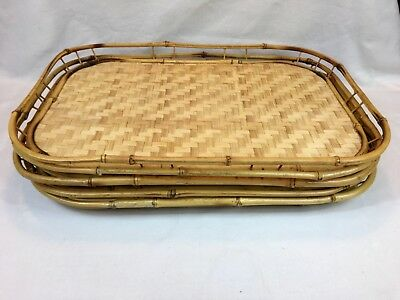 Lot of 4 Vintage Bamboo Woven Rattan Wicker Tiki Bar Large Serving Trays 13x19