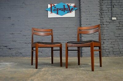 Incredible 2X Vintage Retro Mid Century Teak Dining Chairs Black Vinyl Gmtry Best Dining Table And Chair Ideas Images Gmtryco