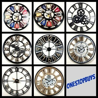 extra large diy matel wall clock vintage antique style retro home decor all size