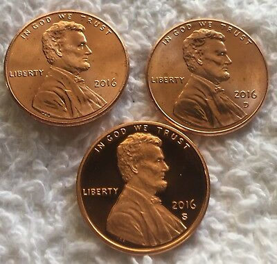 2016 P D S Lincoln Shield Cent Proof & Bu 3 Coin Set Wow Look