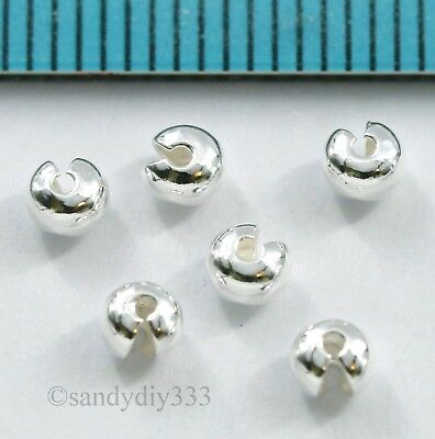 100x BRIGHT STERLING SILVER CRIMP BEAD KNOT COVER 3.3mm #2859A