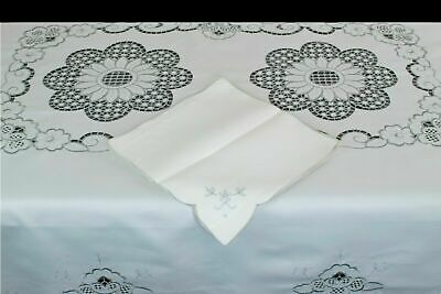"""*Clearance* Embroidered  Blue Flower Cutwork Embroidery Tablecloth 72x72"""" Round"""